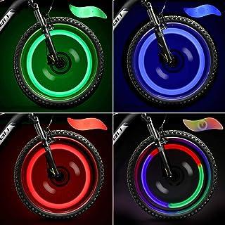 4 Pack Bike Spoke Lights, LED Bike Wheel Lights Keep Safe Decorations with 3 LED Flash Modes Batteries Included