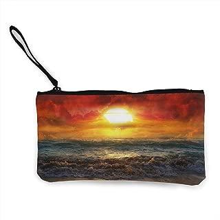 Oomato Canvas Coin Purse Sea Wave Cosmetic Makeup Storage Wallet Clutch Purse Pencil Bag
