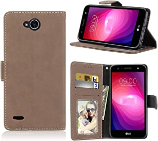 Phone Cases & Covers Flip Stand Case Cover Retro Style PU Leather Case with Kickstand and Card Slots for LG X Power Mobile Phone Cases (Color : Beige)
