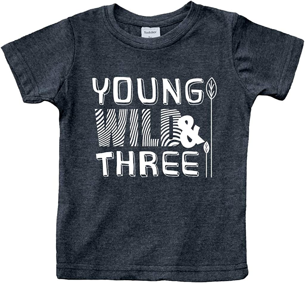 Young Wild and Three 3rd Birthday Shirt boy 3 Year Old Toddler Third Outfit 3 yr