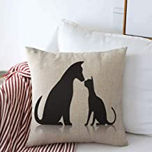 Throw Pillows Cover 16 x 16 Inches Friends Pet Animals Wildlife Dog Silhouette Together Puppy Sitting Head Profile Standing Veterinary Cushion Case Cotton Linen for Fall Home Decor