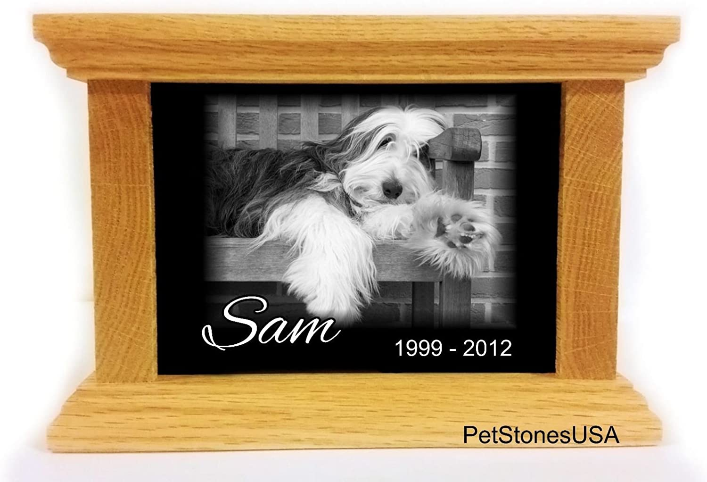 Pet Cremation Urn Oak Popular brand in the world Wood Box Memorial Animal Granite Jacksonville Mall Photo Any