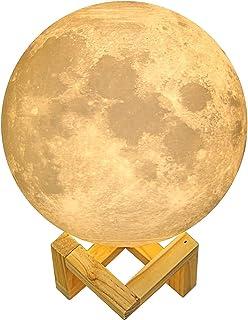 Lámpara luna 3D   La ORIGINAL de Indoostrial   Lámpara LED en forma de luna   Control táctil   Batería incorporada   Luz decorativa de 15 cms   Moon lamp ideal para bebes y niños