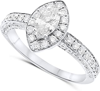 18k White Gold Marquise Natural Diamond Halo Engagement Ring For Women