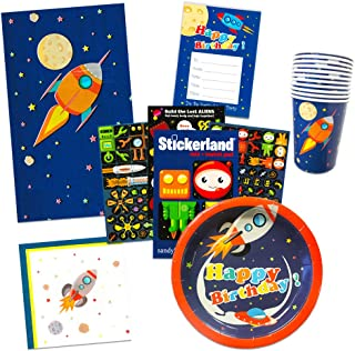 Space Party Supplies Outer Ultimate Set -- Spaceship Birthday Party Decorations, Plates, Cups, Napkins, Party Favors Bags and More (Rocket Theme)