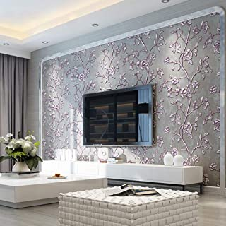 2fa8f501 KeTian - Papel pintado moderno con estampado de flores en relieve para  fondo de TV (