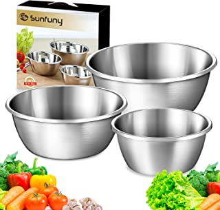 Sunfuny Mixing Bowls Set of 3, Cooking Stew Pot, Stainless Steel Cookware Casserole Stockpot, Kitchen Serving Storage Bowl...