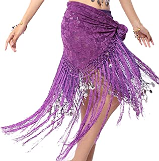 ZLTdream Women's Belly Dance Long Tassels Lace Triangle Hip Scarf