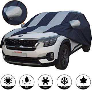 AllExtreme K7005 Car Body Cover for Kia Seltos Custom Fit Dust UV Heat Resistant for Indoor Outdoor SUV Protection (Blue-Silver with Mirror)