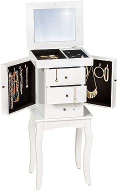 TecTake Armoire à bijoux blanc collier bague accesoire lunettes avec miroir meuble bois miroir velours chambre à coucher sall