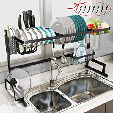 Dish Rack Over Sink - Tsmine Stainless Steel Drain Bowl Dish Rack Over the Sink Multipurpose Kitchen Supplies Storage Shelf Utensils Holder with 7 Holder Hooks