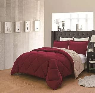 Empire Home Down Alternative Comforter Set - Overstock Sale (Burgundy & Taupe, Queen)