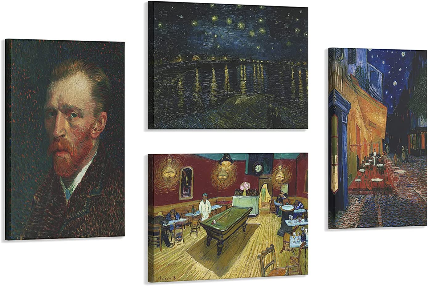 4 Pcs Abstract Van Gogh Cafe Max 54% OFFicial site OFF at Terrace Wall Art Night Waterproo