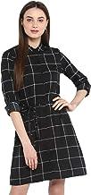 StyleStone (3322BlkOfficeChkDrs) Women's Black and White Check Shirt Dress with Belt