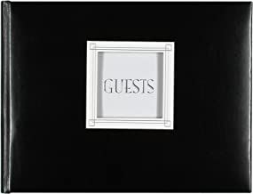 C.R. Gibson Black Leather Guest Book with Photo Window Cover, 94 Sheets, 9'' x 7''