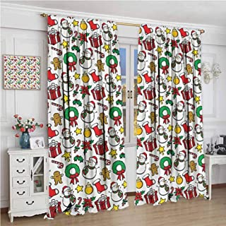 GUUVOR Christmas Decorations Collection Heat Insulation Curtain Classical Christmas Inspirational Wreath Candy Cane Snowman Patterns Feast Decor for Living Room or Bedroom W108 x L96 Inch Red White