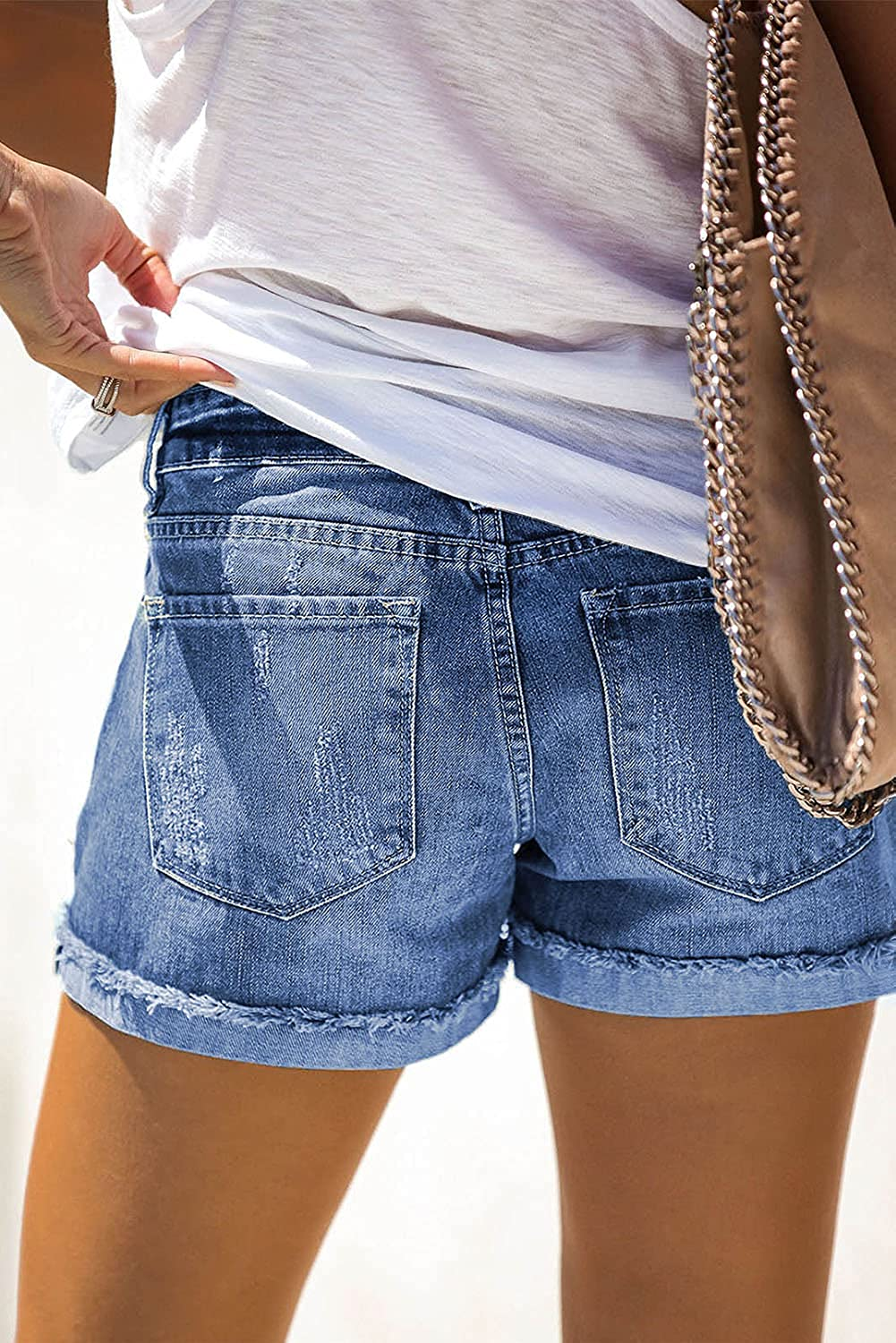 Women Mid Waist Frayed Raw Hem Ripped Patchwork Hot Denim Shorts Summer Casual Loose Washed Jeans Shorts