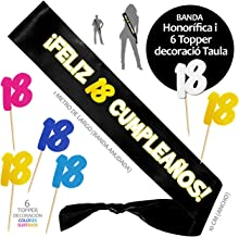 Inedit Festa - Banda 18 Años Cumpleaños Banda Honorífica 18 Cumpleaños Feliz y 6 Topper. 2001 Naciste