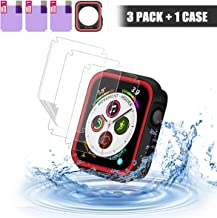 SYOSIN Compatible with Apple Watch 44mm Case & Screen Protector [3-Pack], Black Red Silicone Shockproof Cover, TPU Anti-Bl...