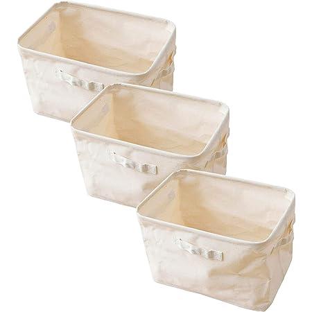[山善] 収納ボックス (オープン) 3個セット カラーボックス対応 (内側が拭ける・折りたためる) コットン100%使用 (コットンナチュラル) YTC-TNB3POL(CN) 【Amazon.co.jp限定】