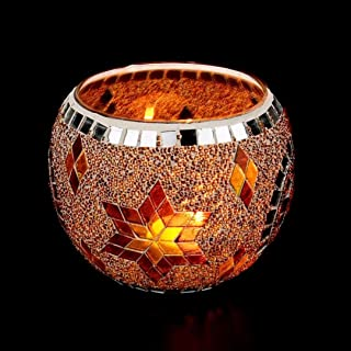Huikai Mosaic Candle Holders, Candle Holders Handmade Mosaic Glass Candlestick for Home Bedroom Decor Wedding Decor Valentines Gifts (Gold 2)