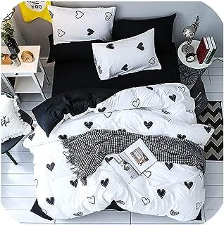 LOVE-JING テキスタイル ガールズ キッズ ティーン ファッション 寝具セット 大人用 ソフト ウォッシュ加工 コットン ブラック ホワイト ハート型 布団カバー 枕カバー ベッドシーツ Twin 3Pcs