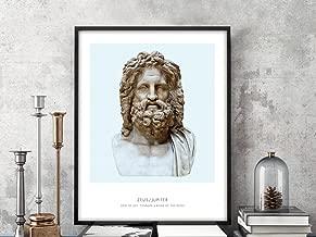 Zeus | Portrait of Zeus, Greek Mythology, Zeus Statue Photograph, Zeus Bust Art Print, Modern Home Decor, Blue and White, Zeus Art Print