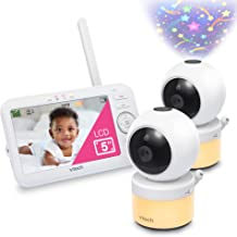 """VTech Video Baby Monitor with 5"""" Screen, Pan Tilt Zoom, Sound Activated Night Light and Vision, Glow on The Ceiling Projec..."""