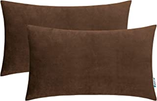 HWY 50 Velvet Soft Solid Decorative Throw Pillows Covers Set Cushion Cases for Couch Sofa Living Room Rectangular 12 x 20 inch Coffee Pack of 2 Comfortable Decor