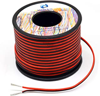 20 awg Silicone Electrical Wire 2 Conductor Parallel Wire line 200ft [Black 100ft Red 100ft] 20 Gauge Soft and Flexible Hook Up oxygen free Stranded Tinned copper wire