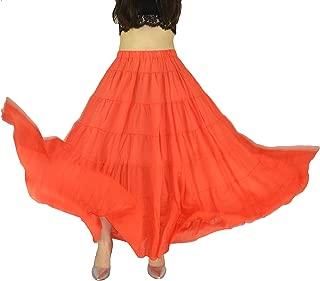 YSJERA Women's Cotton 5 Tiered A Line Pleated Maxi Skirt Long Boho Gypsy Dance Skirts