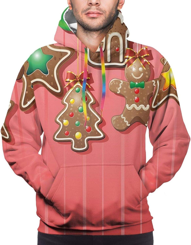 Men's Hoodies Sweatshirts,Christmas Bells Santa with Gifts Colorful Candies On Pine Design Capital F Print