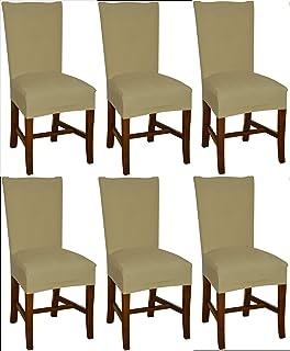 Bellboni - Fundas para sillas, Fundas elásticas, Cubiertas para sillas, Pack de 6, Beis