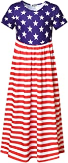 فساتين طويلة من Jxstar بتصميم زهرة للفتيات للصيف فستان طويل مع جيوب