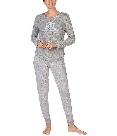 LAUREN Ralph Lauren Double Knit Logo Long Sleeve Scoop Neck Pants Pajama Set (Heather Stripe) Women