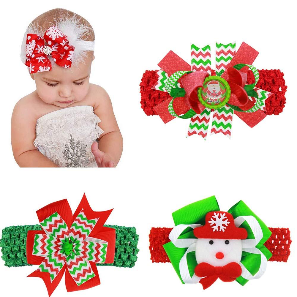 4 Pack Christmas Baby Girl Bowknot Headbands, Santa Hair Accessories