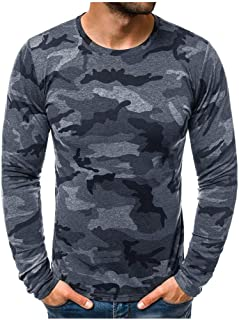 Men Camouflage Printed Pullover Tops, Male Solid O-neck Long Sleeve T-shirt Blouse Tunic Tops Sweatshirt