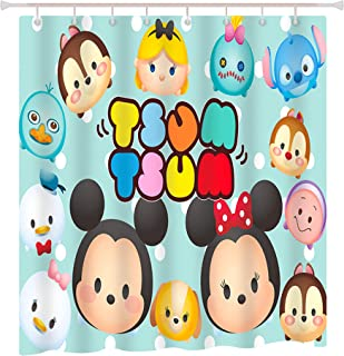 Finex Blue Mickey Mouse and Minnie Mouse Waterproof Shower Curtain with 12 Bath Curtain Hooks for Home Teens Kids College Students Apartment Bathroom décor