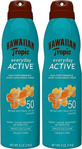 Hawaiian Tropic SPF 50 Broad Spectrum Island Sport Sunscreen Spray, Coconut, 6 Oz (Pack of 2)