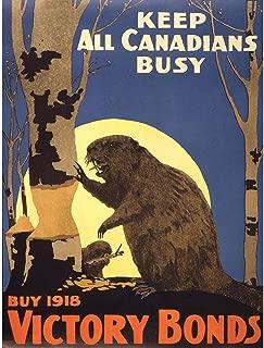 Wee Blue Coo Propaganda War WWI Canada Victory Bond Beaver Moon Unframed Wall Art Print Poster Home Decor Premium