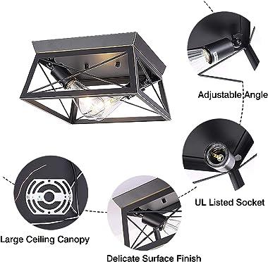 HMVPL Industrial Close to Ceiling Light, Farmhouse Light Fixtures Flush Mount Lighting Mini Ceiling Lamp 2-Light for Kitchen