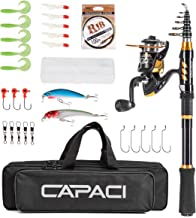 CAPACI Portable Telescopic Fishing Rod and Reel Combos Carbon Fiber Fishing Pole with Full Kits Carrier Bag for Travel Saltwater Freshwater