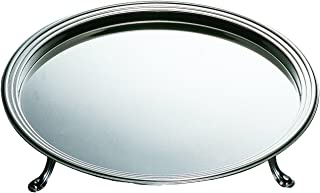 Mepra Palace Round Tray with Feet 40 cm Silver Finish, Dishwasher Safe
