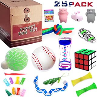 Fidget Toys set, Sensory toys pack for Stress Relief and Anti-Anxiety (25 Pack), Motion Timer/Marble and Mesh/Pack of Squeeze Balls/Grape Ball/Slime/Stretchy String/Squeeze-a-Bean Soybeans & More
