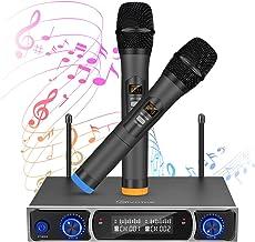 Equipo de karaoke, EIVOTOR UHF Sistema de Micrófono con 2 Micrófono Dinámico Conjunto de Micrófono Inalámbrico con pantalla LED Micrófono de Mano de 50 Canales para Kareoke, Fiesta, Conferencia, Boda