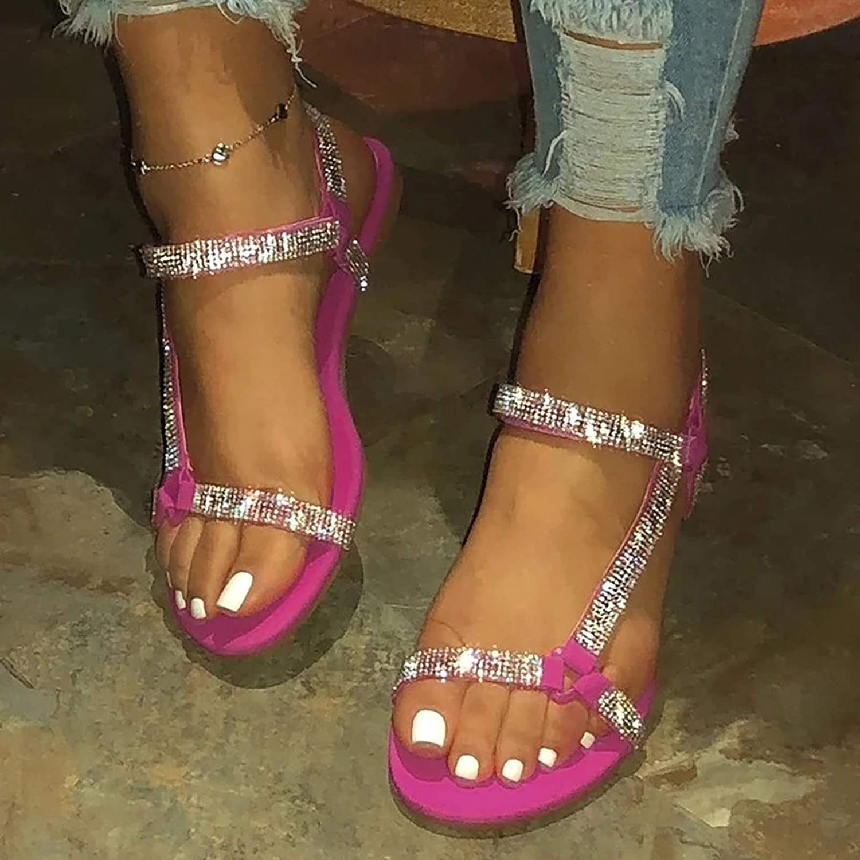 ZYAPCNGN Summer Sandals for Women Flip-Flops Flat with Strappy Open Toe Beach Shoe Rhinestone Sandals Beach Sandals