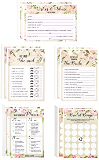 Floral Bridal Shower Games - Set of 5 Games, Wedding Game Cards Pack and Party Supplies, Including Marriage Advice, Bingo, How Well do You Know the Bride, 50 Sheets Each Game, Pink, 5 x 7 Inches