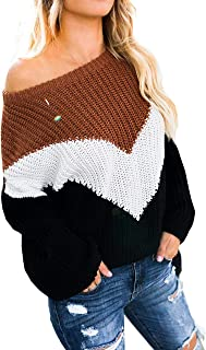 GOLDSTITCH Women's Sweaters Oversized Batwing Pullover Loose Off The Shoulder Knit Jumper - Brown - Large
