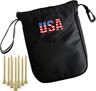 Amy Sport Golf Pouch Bag Multi Pocket Clip Zipper Hook to Bag, with 10 Pcs Wooden Golf Tees Value Set, Durable Nylon Valua...