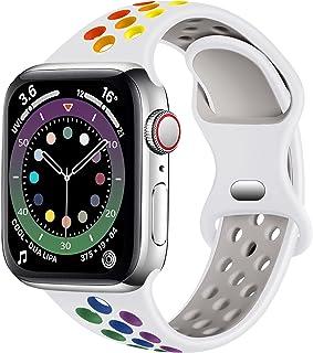 Epova Bransoletka sportowa kompatybilna z zegarkiem Apple Watch, 38 mm, 42 mm, 40 mm, 41 mm, 44 mm, 45 mm, oddychający mię...